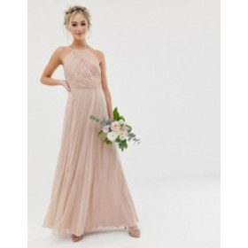 エイソス レディース ワンピース トップス ASOS DESIGN Bridesmaid pinny maxi dress with ruched bodice Soft blush