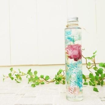母の日おすすめ 【サンクスボトル】白文字×ライトブルー ローズ&アジサイ