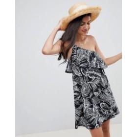 エイソス レディース ワンピース トップス ASOS DESIGN one shoulder sundress with ruffle in black palm print Black palm