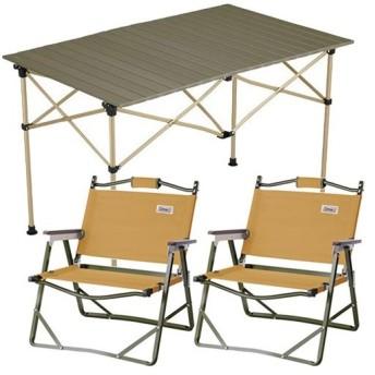 コールマン(Coleman) キャンプ イージーロール 2ステージテーブル/110 オリーブ & ファイヤープレイス フォールディングチェア サンド ×2脚セット 2019年