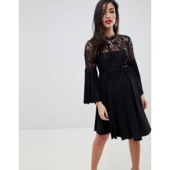 エイソス レディース ワンピース トップス ASOS DESIGN Maternity lace and pleat mini skater dress Black
