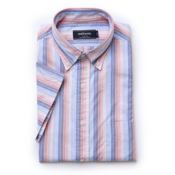 NEWYORKER / 【クリアランスセール】パナマストライプ / 半袖ボタンダウンシャツ