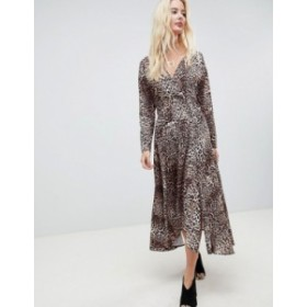 エイソス レディース ワンピース トップス ASOS DESIGN wrap midi dress with long sleeves in leopard print Multi