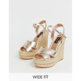 リバーアイランド レディース サンダル シューズ River Island Wide Fit wedge sandals in gold Gold