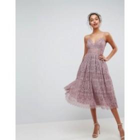 エイソス レディース ワンピース トップス ASOS Lace Cami Midi Prom Dress Mink