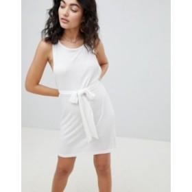 エイソス レディース ワンピース トップス ASOS DESIGN Tie Front Step Hem Beach Dress In Waffle Jersey White