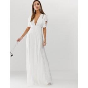 エイソス レディース ワンピース トップス ASOS DESIGN maxi dress with lace godet panels Ivory