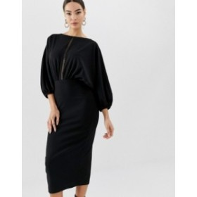 エイソス レディース ワンピース トップス ASOS DESIGN oversize batwing midi pencil dress with ladder trim Black