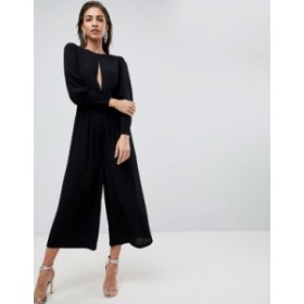 エイソス レディース ワンピース トップス ASOS 40's Tea Jumpsuit with Sleeve Detail Black