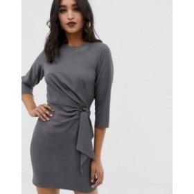 エイソス レディース ワンピース トップス ASOS DESIGN wrap detail mini dress with long sleeves Grey
