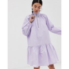 エイソス レディース ワンピース トップス ASOS WHITE drop waist smock dress Lilac