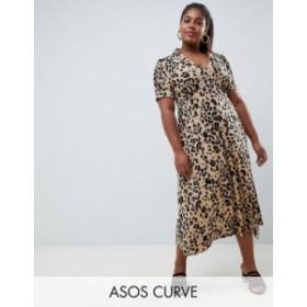 エイソス レディース ワンピース トップス ASOS DESIGN Curve animal print midi tea dress Multi