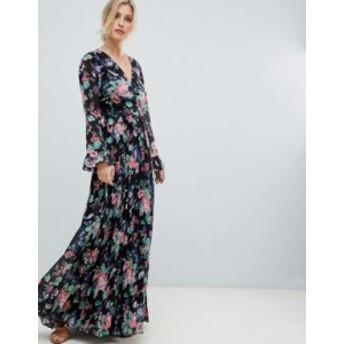 エイソス レディース ワンピース トップス ASOS DESIGN pleated wrap maxi dress with ruffle in floral print Multi