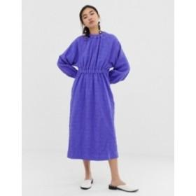 エイソス レディース ワンピース トップス ASOS WHITE textured gathered neck dress Purple
