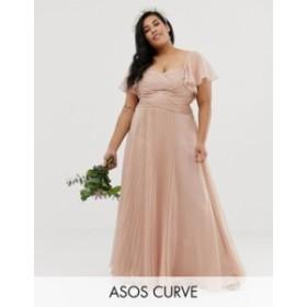 エイソス レディース ワンピース トップス ASOS DESIGN Curve Bridesmaid pleated bodice maxi dress with flutter sleeve Soft blush