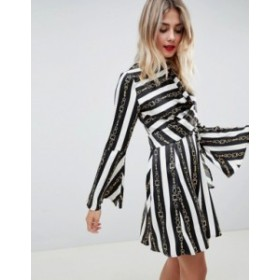 エイソス レディース ワンピース トップス ASOS DESIGN twist mini dress in chain print Multi