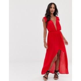 エイソス レディース ワンピース トップス ASOS DESIGN plunge beach maxi dress with ruffle shoulders & high low hem Red
