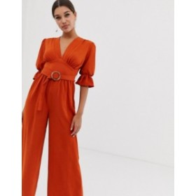 エイソス レディース ワンピース トップス ASOS DESIGN v neck jumpsuit with puff sleeve and oval belt Rust
