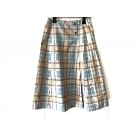 【中古】 ヨークランド ロングスカート サイズ9 M レディース 美品 ライトブルー ベージュ マルチ