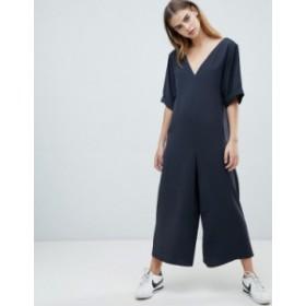 エイソス レディース ワンピース トップス ASOS DESIGN Minimal Short Sleeve Strap Back Jumpsuit Charcoal
