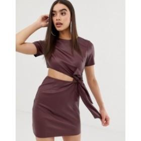 エイソス レディース ワンピース トップス ASOS DESIGN faux leather mini dress with cut out side Oxblood