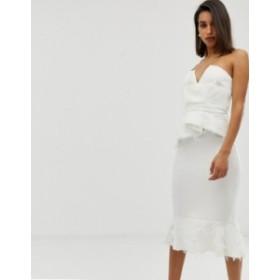 エイソス レディース ワンピース トップス ASOS DESIGN PREMIUM faux feather detail peplum midi dress White