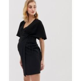 エイソス レディース ワンピース トップス ASOS DESIGN Maternity wrap mini dress Black