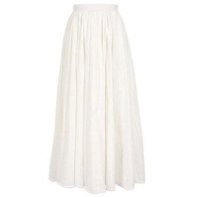コウベレタス KOBE LETTUCE リネン風タックギャザーマキシスカート (オフホワイト)