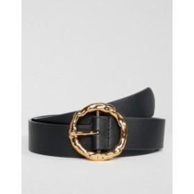 エイソス レディース ベルト アクセサリー ASOS DESIGN hammered gold circle waist & hip jeans belt Black