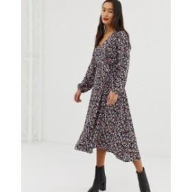 ニュールック レディース ワンピース トップス New Look wrap dress in floral pattern Black pattern
