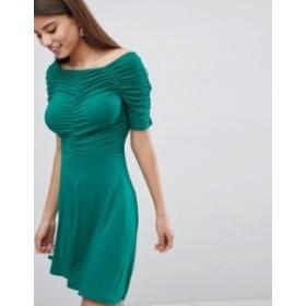 エイソス レディース ワンピース トップス ASOS Mini Tea Dress with Ruching Detail Green