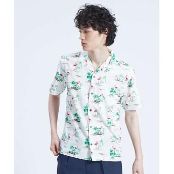 アバハウス フラミンゴ柄 オープンカラー 半袖シャツ メンズ ホワイト 48 【ABAHOUSE】