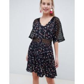 エイソス レディース ワンピース トップス ASOS DESIGN lace insert mini casual tea dress in ditsy floral Multi