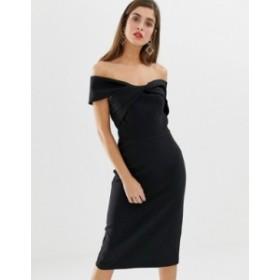 リバーアイランド レディース ワンピース トップス River Island off the shoulder bodycon dress in black Black