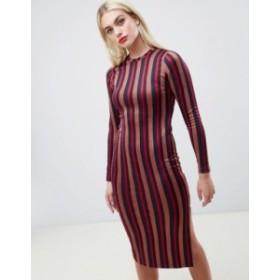 エイソス レディース ワンピース トップス ASOS DESIGN glitter stripe bodycon midi dress Stripe