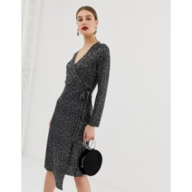 リバーアイランド レディース ワンピース トップス River Island plisse wrap dress in metallic leopard print Black