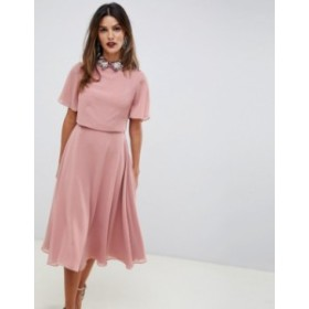エイソス レディース ワンピース トップス ASOS DESIGN midi dress with crop top and embellished collar Rose pink