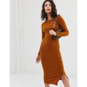 リバーアイランド レディース ワンピース トップス River Island bodycon midi dress with buttons in orange Orange dark