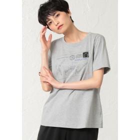 EVEX by KRIZIA 【ウォッシャブル】ファインベールカットソー(プリント) Tシャツ・カットソー,グレー
