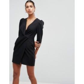 エイソス レディース ワンピース トップス ASOS Wrap Front Mini Dress Black