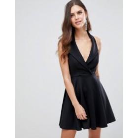 エイソス レディース ワンピース トップス ASOS DESIGN Scuba Tux Skater Mini Dress Black