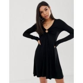 エイソス レディース ワンピース トップス ASOS DESIGN mini long sleeve swing dress with tortoiseshell ring detail Black