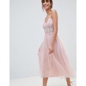 エイソス レディース ワンピース トップス ASOS DESIGN Premium Lace Cami Top Tulle Midi Dress Mink