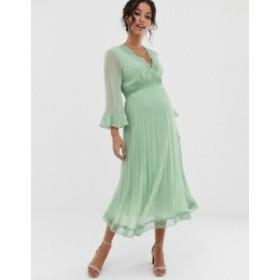 エイソス レディース ワンピース トップス ASOS DESIGN Maternity pleated midi dress with lace inserts Sage green
