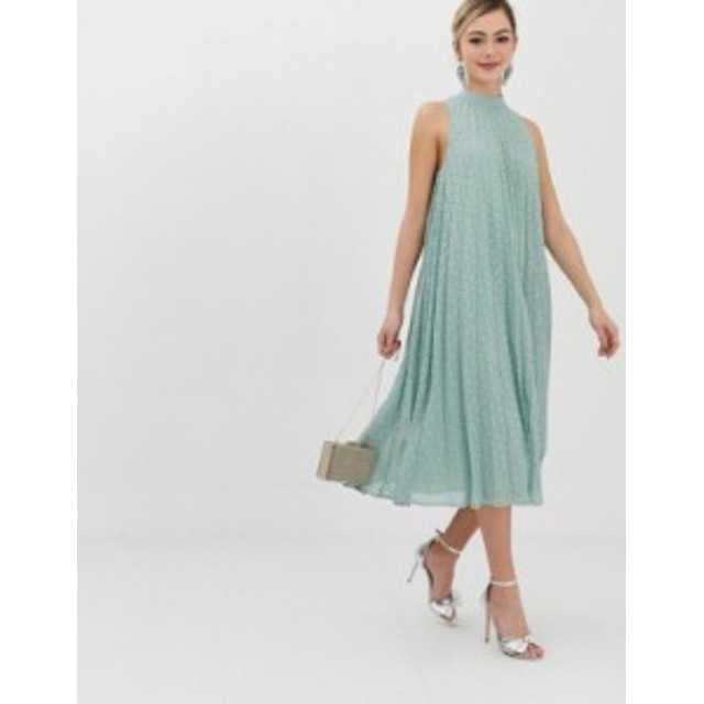 エイソス レディース ワンピース トップス ASOS DESIGN premium high neck pleated trapeze broderie midi dress Sage green