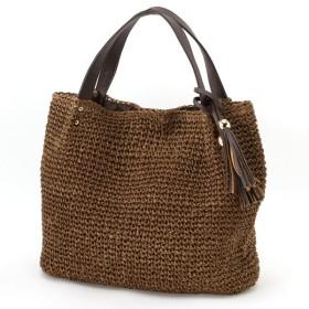 バッグ カバン 鞄 かごバッグ タッセルつきペーパーショルダーカゴバッグ カラー 「ブラウン」