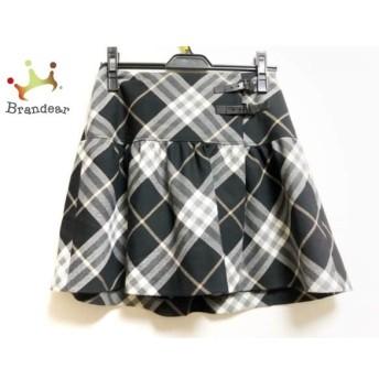 バーバリーブルーレーベル スカート レディース 黒×アイボリー×マルチ チェック柄 スペシャル特価 20190908