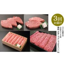 【定期便3回】 山形牛ヒレ5枚・霜降・赤身しゃぶしゃぶ 1kgセット