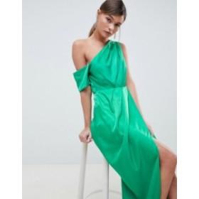 エイソス レディース ワンピース トップス ASOS DESIGN One Shoulder Maxi Dress In Hammered Satin Green
