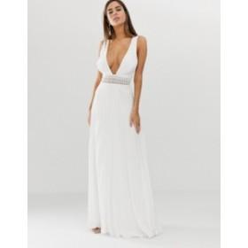 エイソス レディース ワンピース トップス ASOS DESIGN sleeveless maxi dress with lace bodice and pleated skirt Ivory